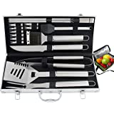 ROMANTICIST 20pc Heavy Duty BBQ Grill Tool Set with Cooler Bag for Men Dad in Gift Box - Outdoor Camping Tailgating Barbecue Gril Accessories in Aluminum Case (Color: Multi, Tamaño: 19pc BBQ Tool Set in Aluminum Case)
