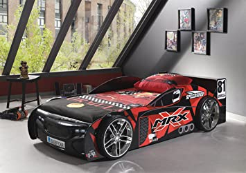 'Vipack SCMRX200 K Car Bed 90 x 60 x 110 cm Painted Bed 90 x 200 cm Black/Red Printed Design