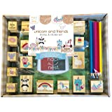 Hapinest Unicorn and Friends Wooden Stamp and Sticker Set for Kids Girls, 68 Pieces, Arts and Crafts Gifts Age 4, 5, 6, 7, 8, 9, 10 Years Old (Color: Unicorn & Friends)