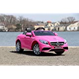 First Drive Mercedes Benz S63 Pink 12v Kids Cars - Dual Motor Electric Power Ride On Car with Remote, MP3, Aux Cord, Led Headlights, and Premium Wheels (Color: Pink)