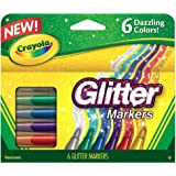 Crayola Glitter Markers, 6 Count (Color: Multi Colored, Tamaño: 1-Pack)