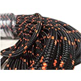 1/2 Inch Double Braid Polyester Rope, Black with Orange Tracers (200 feet) (Color: Orange, Tamaño: 200 feet)