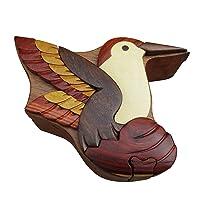 Hummingbird Handmade Carved Wood Intarsia Puzzle Box