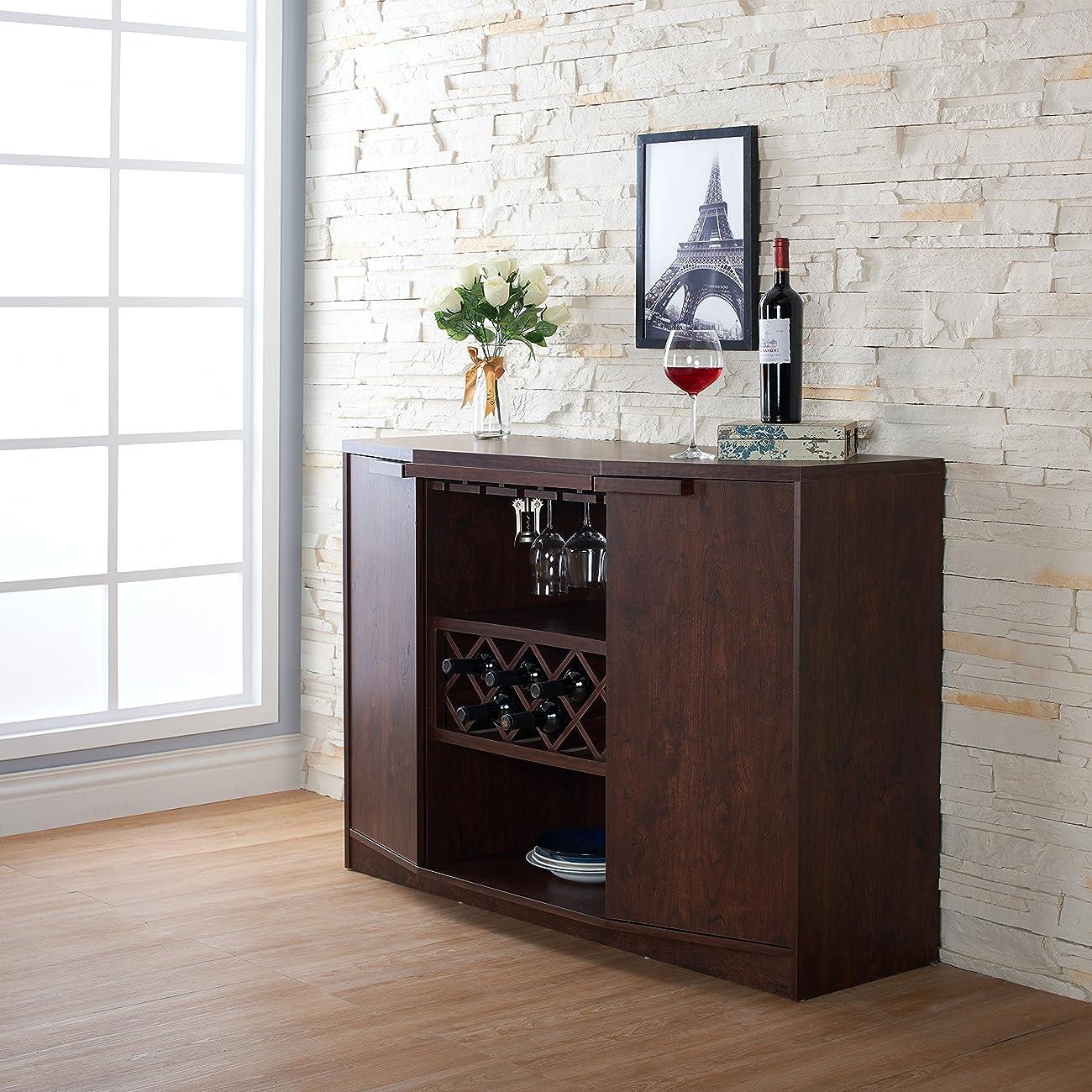 ioHOMES Annadel Wine Cabinet Buffet, Vintage Walnut 2