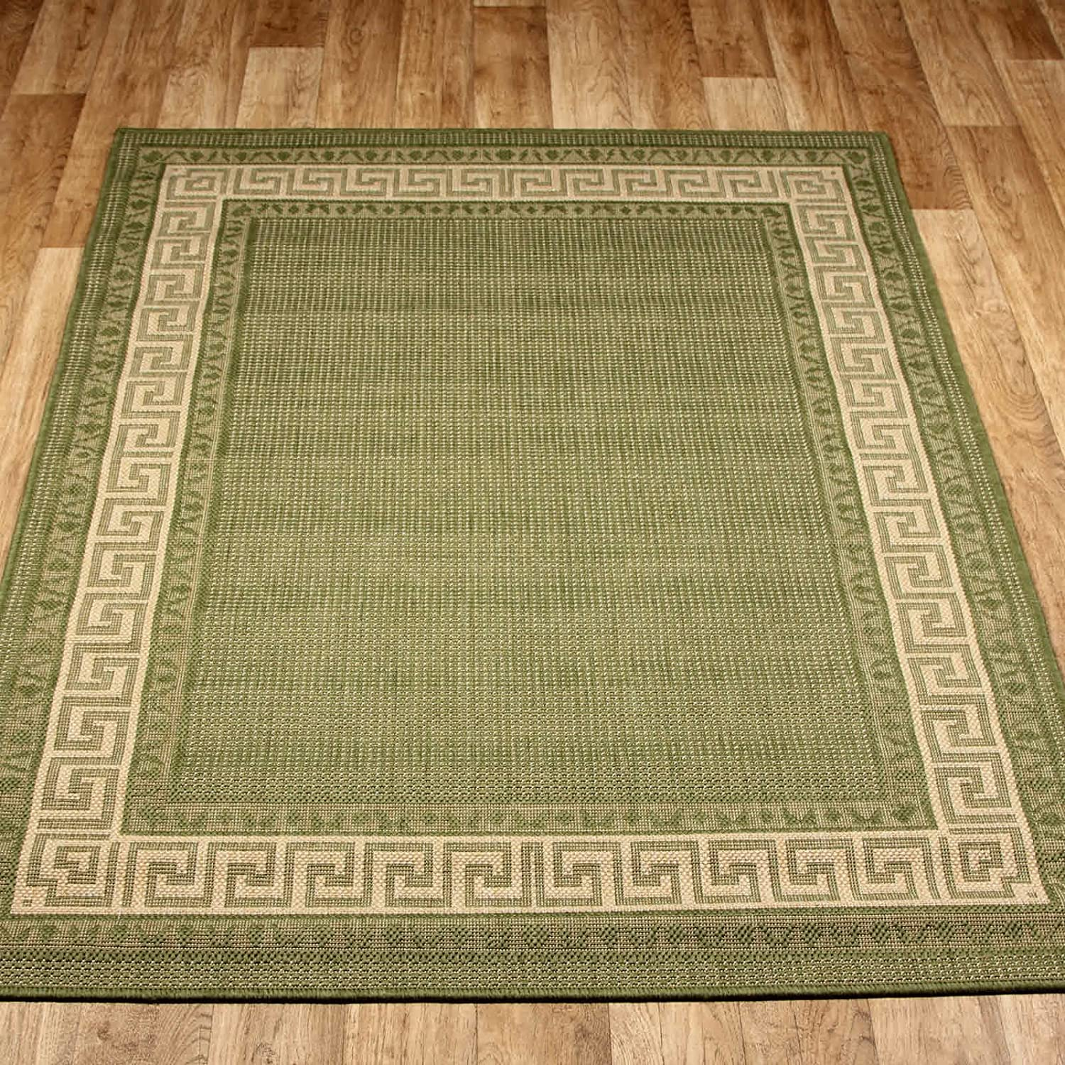 GREEN NON SLIP KITCHEN HALL RUGS RUNNER Greek Flatweave