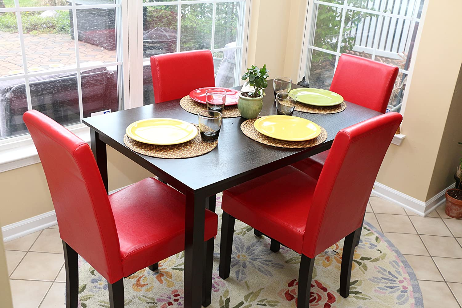 5pc espresso dining room kitchen set table 4 red parson for 4 piece kitchen table set