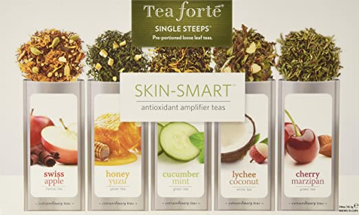 Tea Forte SKIN-SMART Single Steeps Loose Leaf Tea Sampler, 15 Single Serve Pouches - Skin Detox Teas