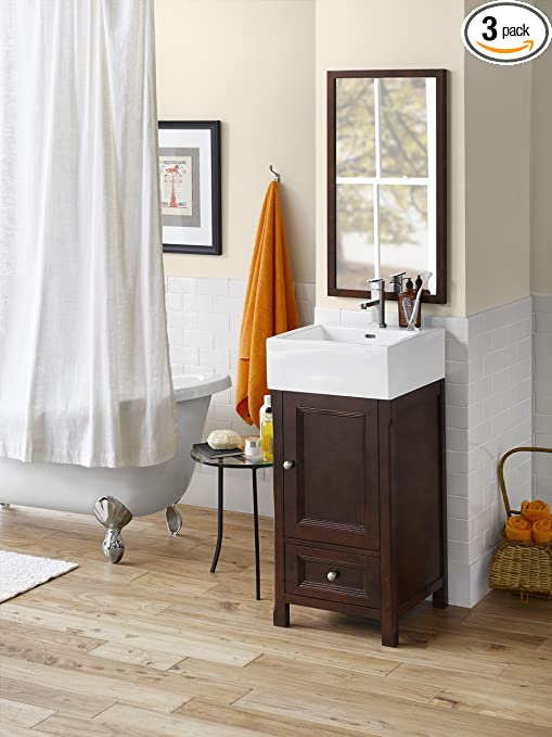 Ronbow 051618-F07_Kit_1 Juliet Bathroom Vanity Set with White Square Ceramic Vessel & Vintage Walnut Contemporary Solid Wood Framed Mirror, 18""