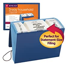 Smead Expanding Household File, Multi-indexed (A-Z, Jan.-Dec. and Household), 12 Pockets, Flap and Elastic Cord Closure, Letter Size, Blue (70626)