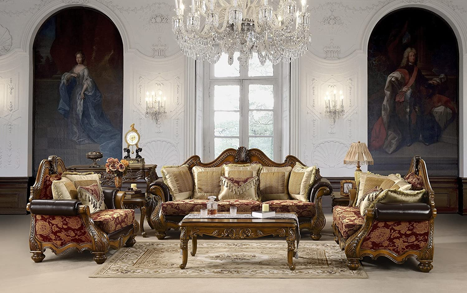 Bordeaux Traditional Collection Living Room Set (Sofa - Love Seat)