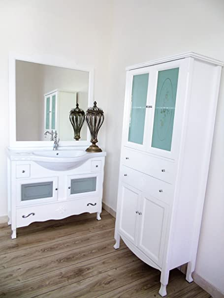 Arredo bagno contemporaneo shabby chic bianco opaco + colonna con vetri decorati massello