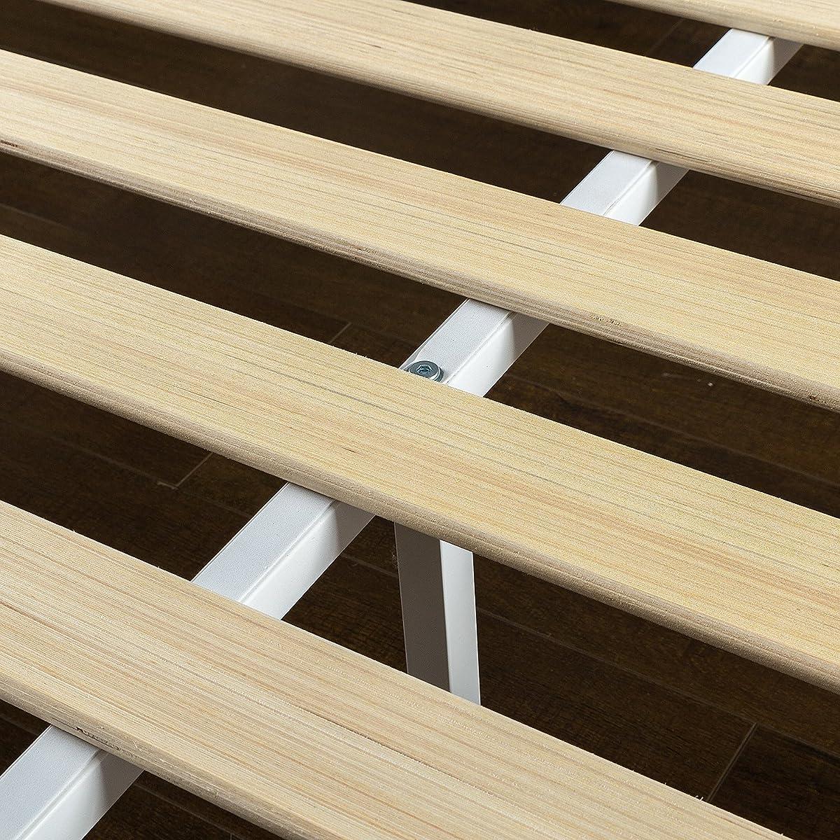 Zinus Deluxe Wood Platform Bed with Slatted Headboard / No Box Spring Needed / Wood Slat Support, Queen