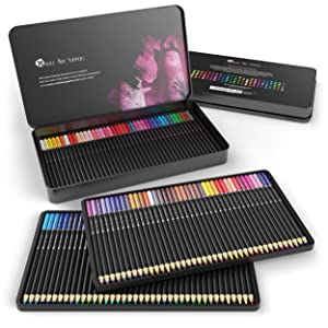 Castle Art Supplies 120 Colored Pencil Set for artists, featuring 'soft series' core for expert layering, blending and shading; perfect for coloring books and classroom (Color: 120 Colors)