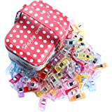 IEUYO 115PCS Sewing Clips, Multipurpose Craft Clips with Tin Box Use As Paper Clips,Clothes Pins,Quilting Clips,Crafters,Knitting,Snap Clips,Blinding Clips and Many Other Application (Tamaño: 115PCS + Tin Box)