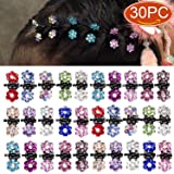 Elesa Miracle 30pcs Crystal Rhinestone Mini Flower Hair Claw Clip Baby Toddler Girl Hair Bangs Pin Kids Hair Accessories (Set A - 30pcs Multicolored) (Color: Set A - 30pcs Multicolored, Tamaño: One size)