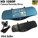 5 in Full HD 1080P Blue 300mm Car Front/Back Up Reverse Rear Camera Video Recorder G-Sensor Interior Rearview Mirror USA