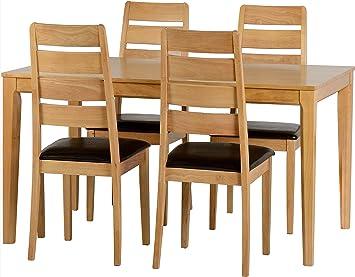 Seconique Logan klein Esstisch mit 4Logan Stuhle–Eiche Lack/braun Kunstleder