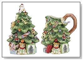 Spode Christmas Tree Sculpted Christmas Tree Shape Sugar And Creamer Set