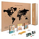 Push Pin Travel Map Kit Includes: Cork World Travel Map, World Flags, Food Stickers, for Travelers (Black, L (17.7 x 23.6 inches)) (Color: Black, Tamaño: L (17.7 x 23.6 inches))