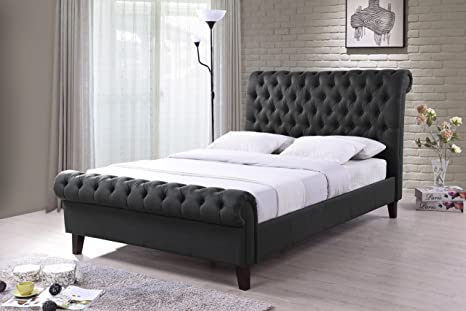 New Luxury Chesterfield 6ft Super King Size Grey Fabric Upholstered Sleigh Bed Frame