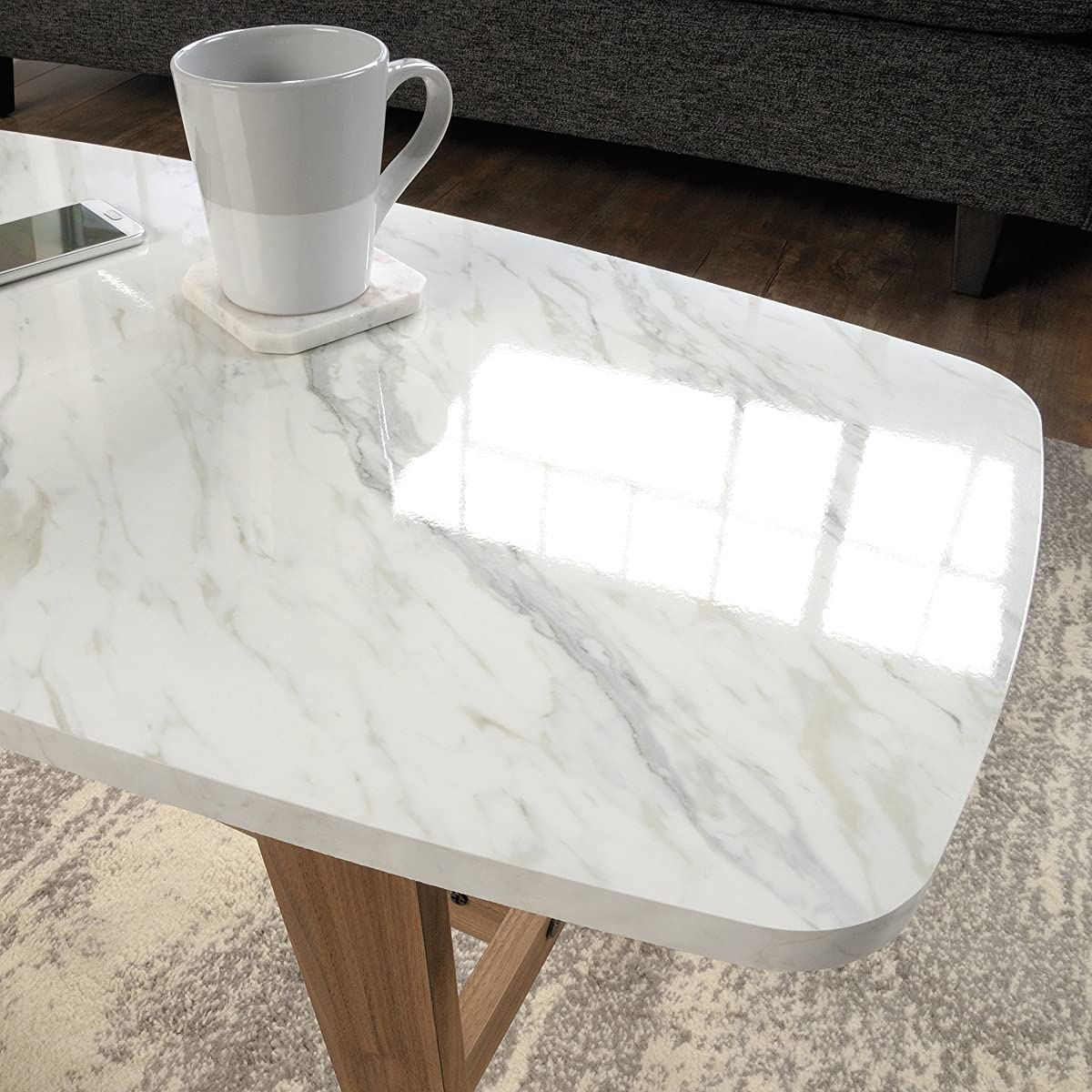Sauder Soft Modern Cocktail/Coffee Table in Fine Walnut Finish