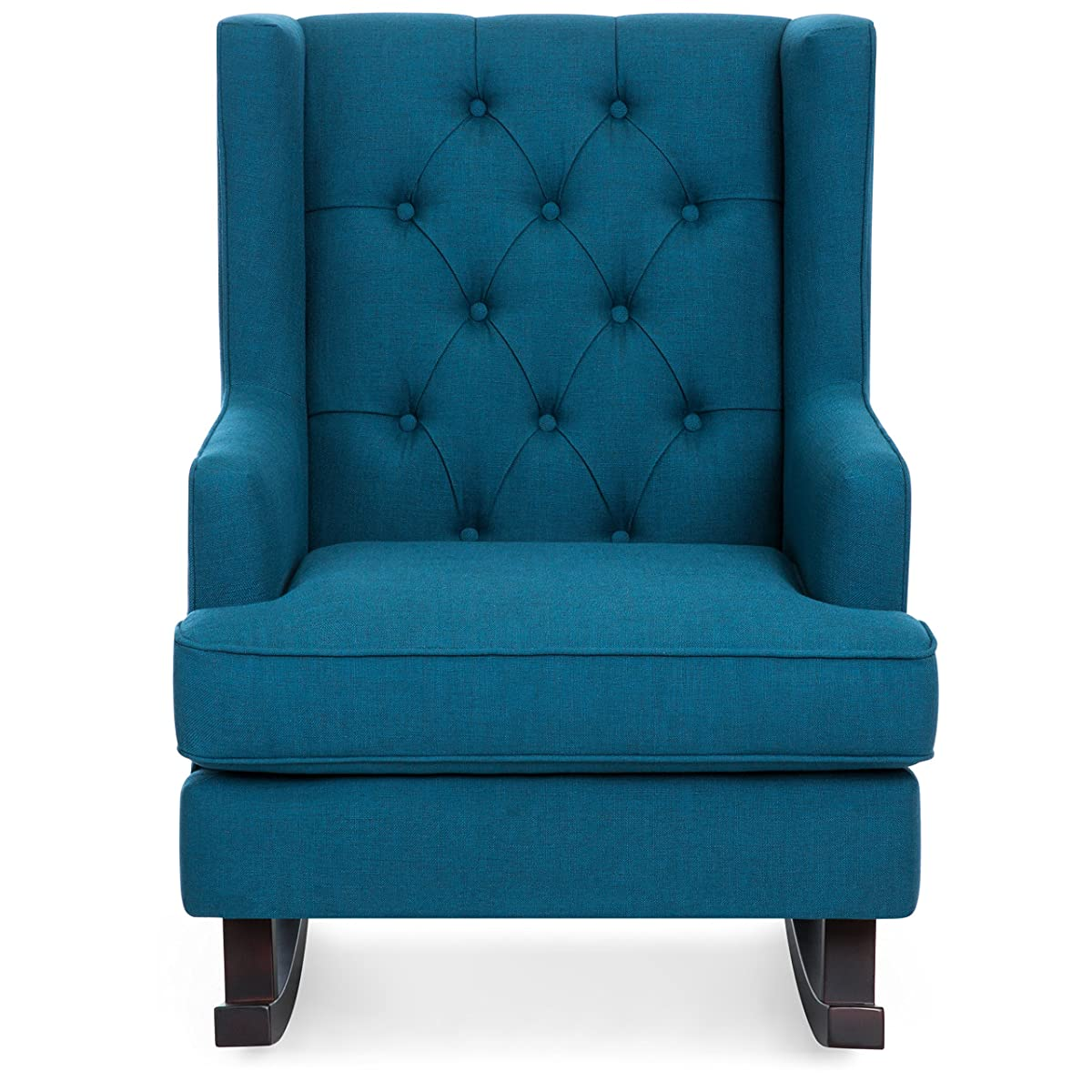 Best Choice Products Tufted Upholstered Wingback Rocking Accent Chair, Living Room, Bedroom w/Wood Frame - Blue Teal