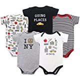 Hudson Baby Baby Cotton Bodysuits, New York City 5-Pack, 0-3 Months (3M)