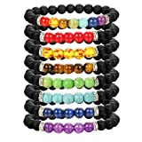 Thunaraz 8 Pack Chakra Bracelet for Women Men Natural Stone Stretch Bracelets Yoga Reiki Prayer Beads Lucky Bracelet