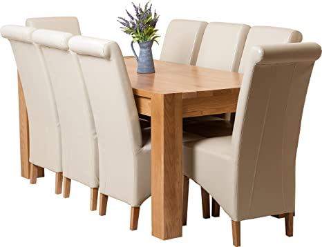 Hermosa Kensington Dining Table with 8 Montana Chairs with Clear Lacquer Finish, Solid Oak/Leather, Ivory, 180 x 90 x 77 cm