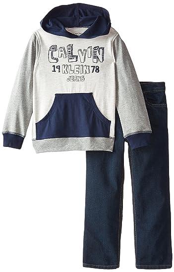 Calvin Klein小男孩Navy Hoody套头卫衣牛仔套装 特价.59 - 第1张  | 淘她喜欢