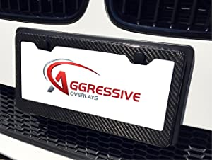 Aggressive Overlays Genuine Carbon Fiber License Plate Frame with Screws and Caps Tag Registration 100/% Real Premium Quality 3D Twill Weave Light Weight Gloss Finish Standard Size US Car QTY 1 FBA/_CF-PLT-1