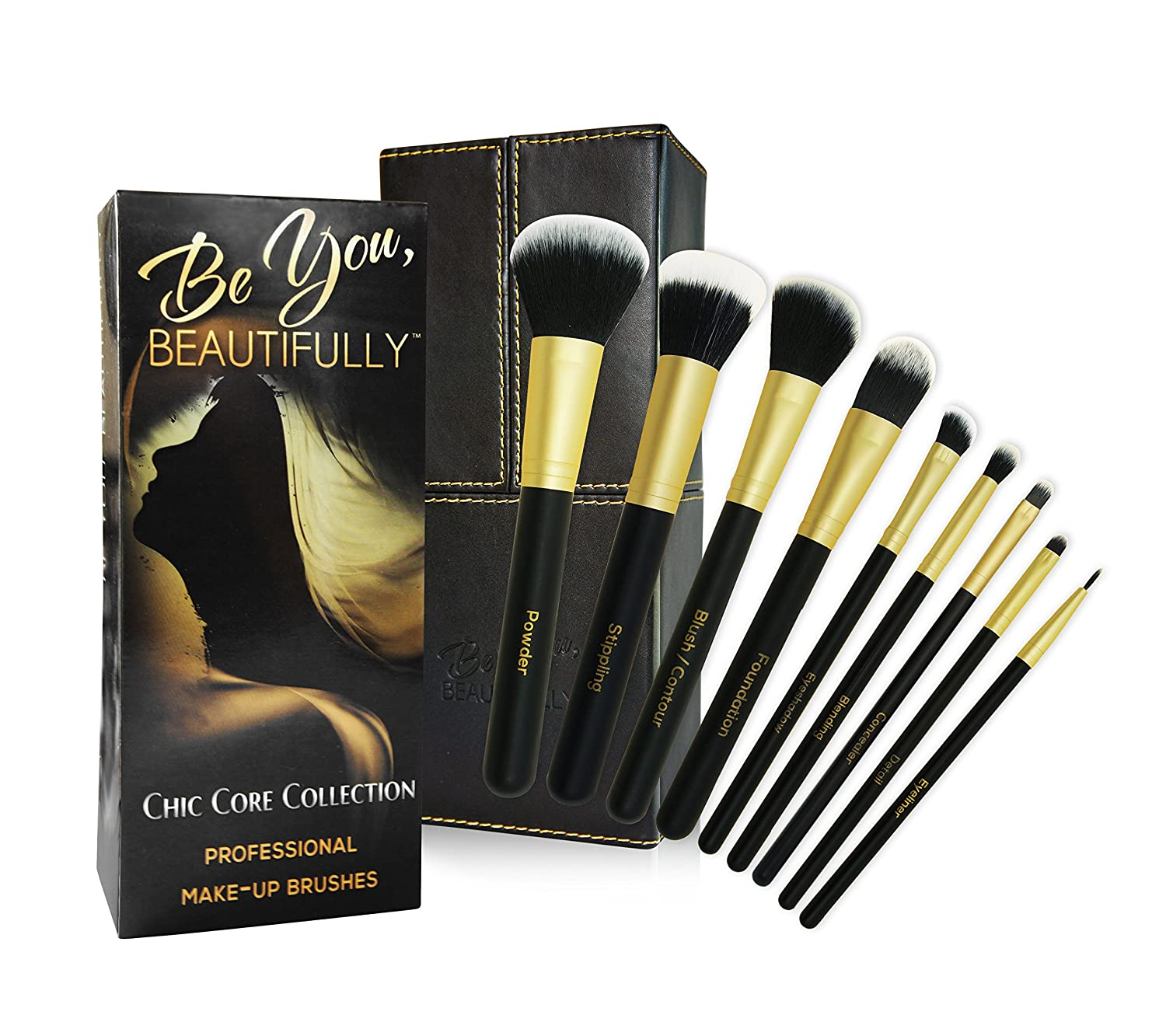 BEST SELLING Professional 8 Piece Makeup Brush Set with Designer Case Plus BONUS Stippling Brush. Hand-Made Powder, Foundation, Concealer, Eye Shadow Brushes and More. Professionally Endorsed