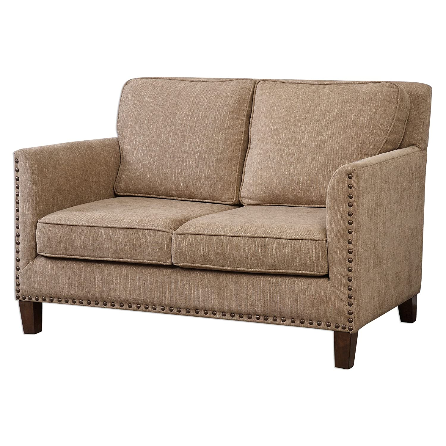 Classic Comfortable Tan Brown Cushioned Loveseat | Neutral Box Square Sofa