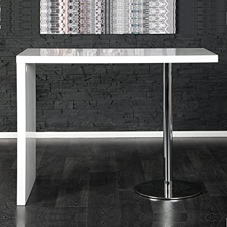 Xtradefactory Elegant Breakfast Table, Bar Table in White Chrome