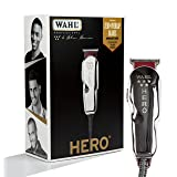 Wahl Professional 5-Star Hero Corded T Blade Trimmer #8991 – Great for Barbers and Stylists – Powerful Standard Electromagnetic Motor – Includes 3 Guides, Oil, and Cleaning Brush (Color: Silver, Tamaño: Original)