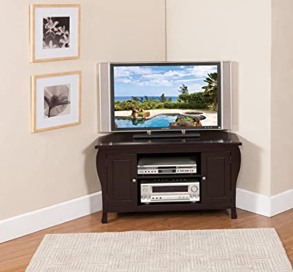 Kings Brand Espresso Finish Wood Corner TV Stand Entertainment Center