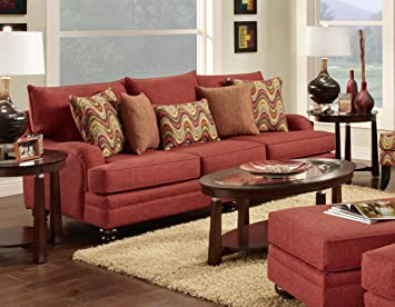 Chelsea Home Furniture Pescara Sofa, Panetta Paprika with Rondalay Festival/Mirage Malange Pillows