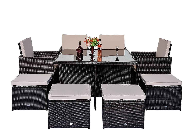 Outsunny Polyrattan Gartenmöbel 21 tlg. Rattan Essgruppe Gartenset Lounge Sitzgruppe Sofa Loungemöbel Garnitur inkl. Kissen Alu, Schutzhülle optional erhältlich (21 tlg. Rattan Gartenset)
