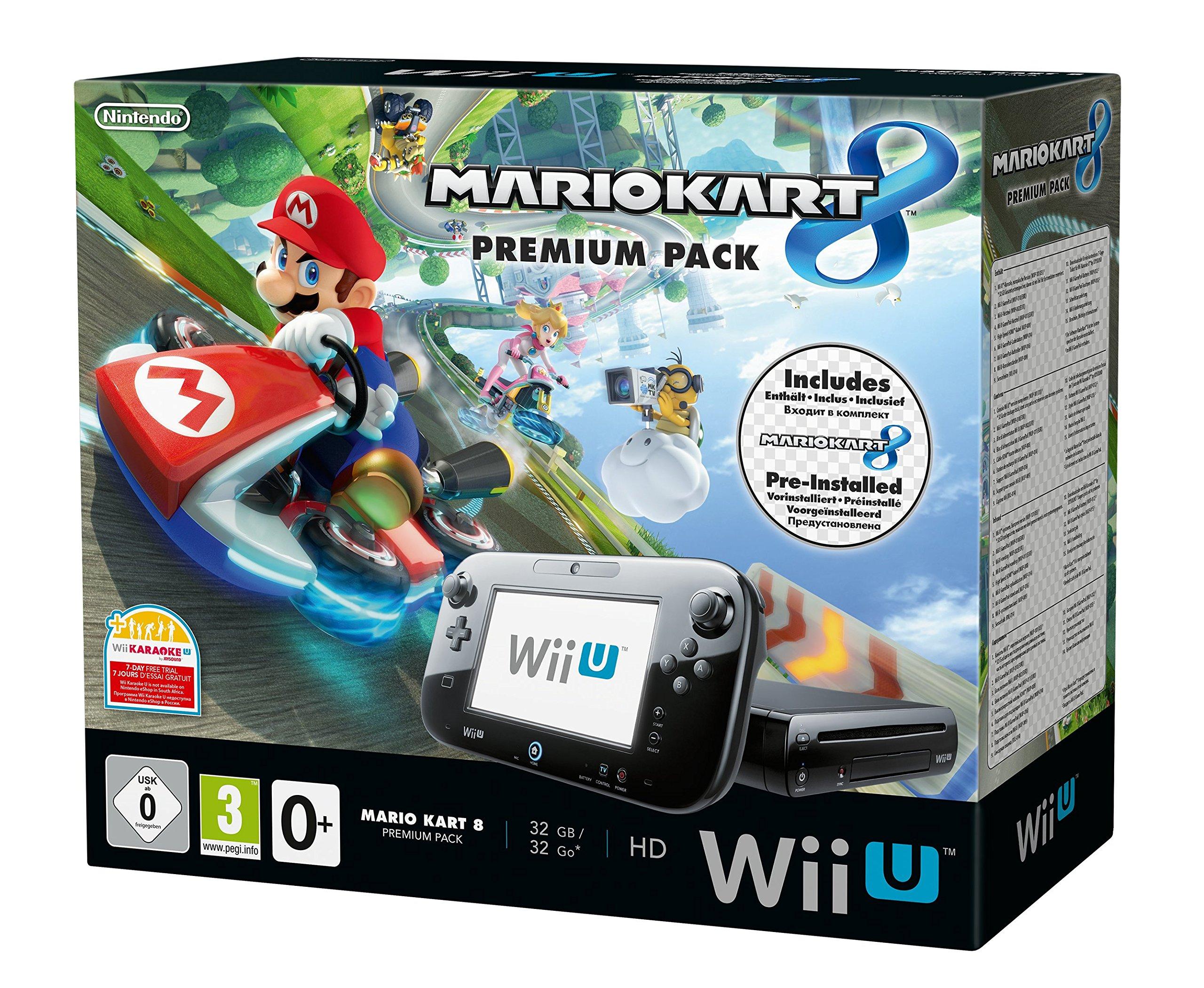 Nintendo Wii U Premium Pack schwarz inkl. Mario Kart 8 (vorinstalliert) 32 GB