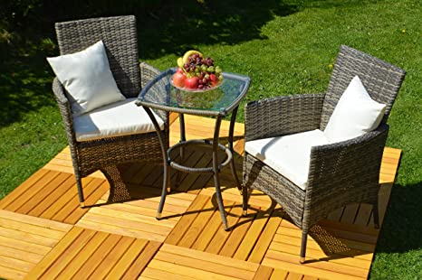 """'3Piezas-Conjunto de muebles de jardín """"VENEZIA Balcón Juego de ratán (mesa + 2sillones)"""