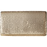 Jessica McClintock Womens Metal Mesh Roll Evening Bag Clutch Purse (Shoulder Chain Included 4.5