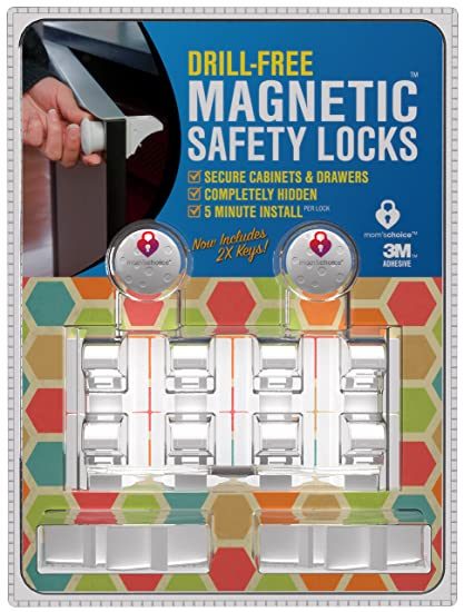 Drill Free Magnetic Cabinet  Drawer Locks 8 Locks2 Keys - Free Shipping - Comes With Amazon A to Z Guarantee - Uses Super Strength 3M Adhesive For Baby Proofing - 5 Minute quotNo Toolsquot Installation