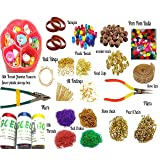 Goelx Silk Thread Jewelery Making Jumbo Kit,Full Materials, Beads Kit with Bangles,Decorative Chains,Jumka Base Flower Box,Tools,Colorful Pom Pom, Plastic, Wooden Beads, (22 Items)