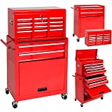 Best Choice Products Portable Top Chest Rolling Tool Storage Box Cabinet Sliding Drawers (Color: Red, Tamaño: 23.5