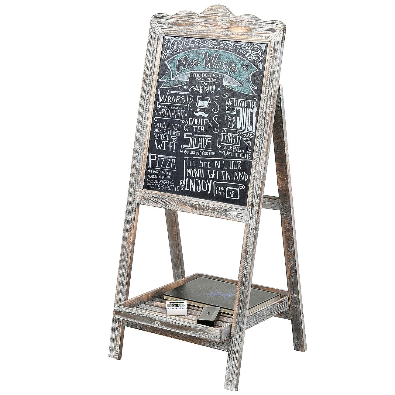 MyGift Torched Wood Chalkboard Easel, Freestanding Vintage Sign Blackboard, Brown 0