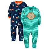 Simple Joys by Carter's Baby Boys' 2-Pack Cotton Footed Sleep and Play, Monkey/Vehicles, 0-3 Months (Color: Monkey/Vehicles, Tamaño: 0-3 Months)