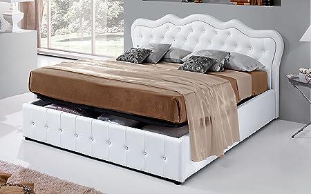 Dafnedesign.com - Letto matrimoniale Similpelle bianco - Letto matrimoniale con contenitore cm. 192 x 205 x 108h