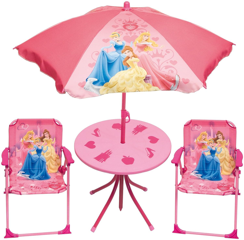 Disney Princess Gartengarnitur Kinder Sitzgruppe Tisch + Stühle + Schirm 4tlg. Set