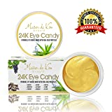(30 Pairs) 24K Gold Eye Masks | Seaweed, Real Gold Particles, Aloe Leaf Juice, Caffeine, Collagen, Hyaluronic Acid | Luxury Anti-Aging Eye Treatment for Eye Wrinkles, Puffy Eyes, Dark Circles