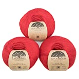 100% Baby Alpaca Yarn (Weight #1) LACE - Set of 3 Skeins 150 Grams Total- Luxurious and Caring Soft for Knitting, Crocheting and Any lace Weight Project - Crimson (Color: Crimson, Tamaño: #1 Lace)